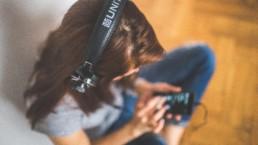The Beat Girl Listening Music Headphones